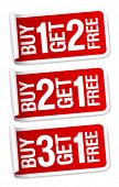 Buy things and get one free, promotional sale stickers.