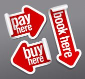 Pay, buy, book here stickers set in form of arrows.