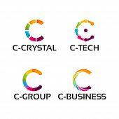 Modern C Initial Logo Template, C Initial Tech Logo Vector Set, C Business Tech Logo Vector Set poster