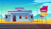 Small, 24 Hours, Roadside Motel Building With Illuminated Road Sign Near Highway In Dessert Area Car poster