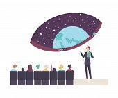 People Characters Attending A Lecture In Planetarium Vector Illustration poster