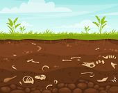 Archeology And Paleontology Flat Vector Illustration. Underground Surface With Dinosaur Bones. Burie poster