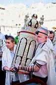 JERUSALEM, ISRAEL - APRIL 26: Jewish with the Torah, ancient scrolls at the western wall on a jewish