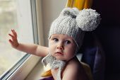 Baby Toddler Child Touch Window Glass Waiting For Mother, Sad And Lonely, Danger Of Open Window, Wea poster