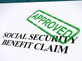 Social Security Claim Approved Stamp Shows Social Unemployment Benefit Agreed