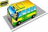 picture of bus-shelter  - The yellow city bus pulls up to the bus stop - JPG