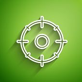 White Line Target Sport For Shooting Competition Icon Isolated On Green Background. Clean Target Wit poster