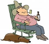 image of redneck  - This illustration depicts a hillbilly sitting in a rocking chair drinking a beer with his dog laying beside him - JPG