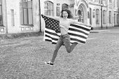 Being Free And Live Life Fully. Happy Girl Jumping Free With American Flag Outdoor. Sensual Woman Ce poster