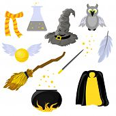 Set Of Stickers On The Theme Of Harry Potter And Magic. Hogwarts. School Of Magic. Mantle Of Invisib poster