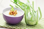 bowl of delicious kohlrabi soup - food and drink /shallow DOFF/
