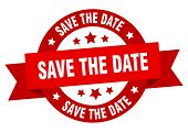 Save The Date Ribbon. Save The Date Round Red Sign. Save The Date poster