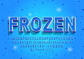 Frozen Alphabet Letters, Numbers And Symbols. 3d Vintage Winter Font In Cold Color. Serif Typeface.  poster