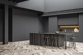 Gray Kitchen Corner With Bar And Stools poster