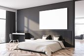 Gray Master Bedroom Corner With Poster poster