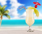 picture of pina-colada  - Cocktail drink on beach - JPG