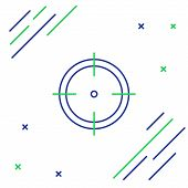 Blue And Green Line Target Sport For Shooting Competition Icon Isolated On White Background. Clean T poster