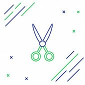 Blue And Green Line Scissors Hairdresser Icon Isolated On White Background. Hairdresser, Fashion Sal poster