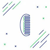 Blue And Green Line Hairbrush Icon Isolated On White Background. Comb Hair Sign. Barber Symbol. Colo poster