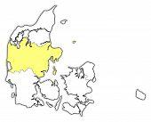 Map Of Danmark, Central Denmark Highlighted poster