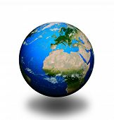 Planet Earth isolated on white background .