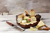 Different Sorts Of Cheese. Cheese Platter With Different Cheese And Spice poster