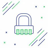 Blue And Green Line Safe Combination Lock Icon Isolated On White Background. Combination Padlock. Se poster
