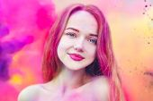 Holi Festival Of Colours. Portrait Of Happy Young Pretty Girl On Holi Color Festival. Girl Kiss With poster