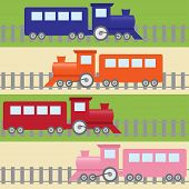 Seamless pattern with colorful trains