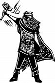 stock photo of thors hammer  - Woodcut style image of the Viking God Thor - JPG