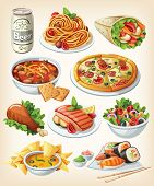 stock photo of junk  - Collection of traditional food of different countries - JPG