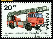 Vintage Postage Stamp. Jelcz Engine.