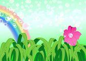 Illustration of nature landscape with rainbow