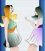 two girls speaking, vector