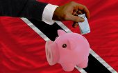Funding Euro Into Piggy Rich Bank National Flag Of Trinidad Tobago