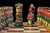 Ecuadorian chess board and pieces
