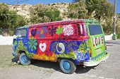 VW Hippie Bus in Matala