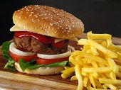 Juicy Hamburger And Fries
