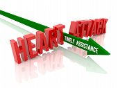 Arrow with phrase Timely Assistance breaks phrase Heart Attack.