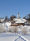 Winter Country Landscape With A Church