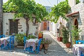 image of sissi  - typical open air restaurant near Sissi on the island Crete - JPG
