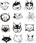 Conjunto de cabeças de gato de contorno