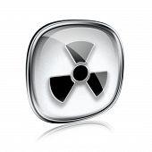 Radioactive Icon Grey Glass, Isolated On White Background.
