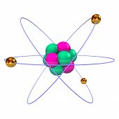 picture of neutrons  - Atom with golden electrons purple protons and green neutrons - JPG