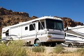 pic of motor coach  - recreational vehicles in a campground in the southwest - JPG