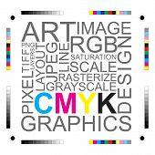 CMYK-Buchstaben-Design Kunst Bild