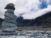 Rock cairn in Hooker Valley near Aoraki Mt Cook NZ