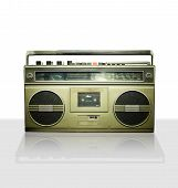 Vintage stereo player in white background.
