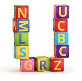 Letter U maked from abc cubes