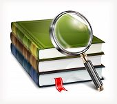 Books And Magnifying Glass On White